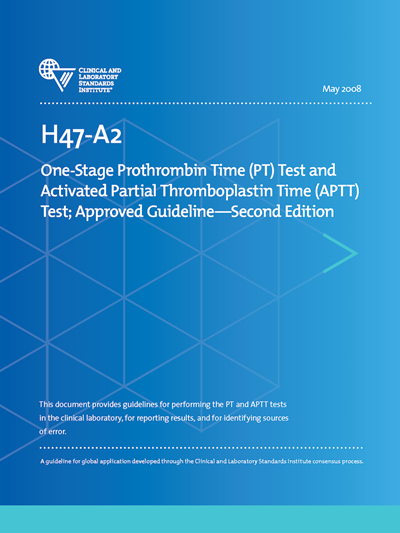 One-Stage Prothrombin Time (PT) Test and Activated Partial Thromboplastin Time (APTT) Test, 2nd Edition
