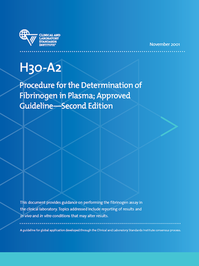 Procedure for the Determination of Fibrinogen in Plasma, 2nd Edition