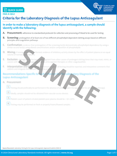 Criteria for the Laboratory Diagnosis of the Lupus Anticoagulant