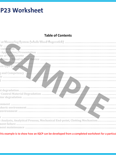 Laboratory Quality Control Based on Risk Management; Worksheet Template
