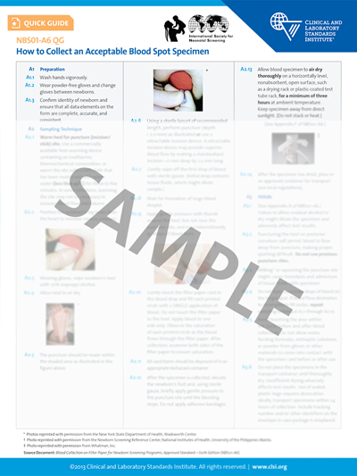 Specimen Collection and Sample Quality for Newborn Screening Quick Guide