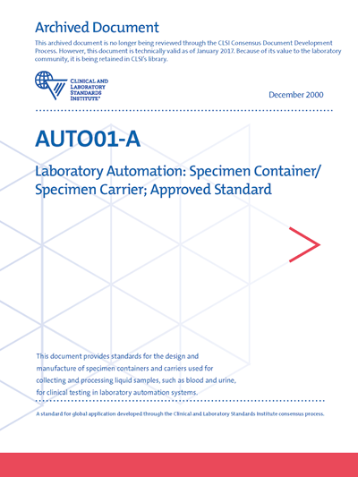 Laboratory Automation: Specimen Container/Specimen Carrier, 1st Edition
