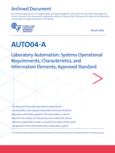 Laboratory Automation Systems Operational Requirements Characteristics And Information Elements 1st Edition