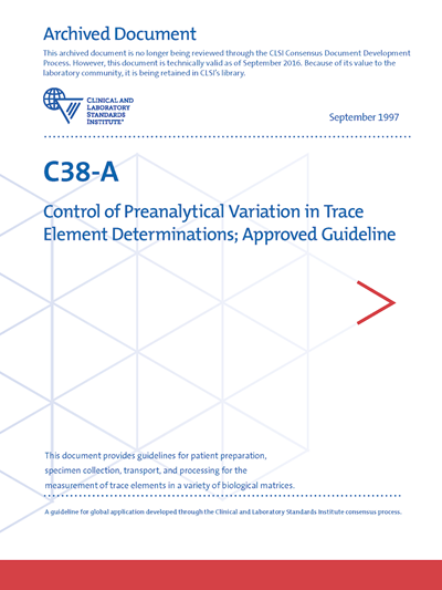Control of Preanalytical Variation in Trace Element Determinations, 1st Edition