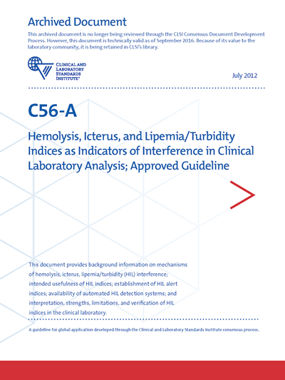 Hemolysis, Icterus, and Lipemia/Turbidity Indices as Indicators of Interference in Clinical Laboratory Analysis, 1st Edition