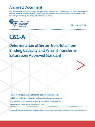 Determination of Serum Iron, Total Iron-Binding Capacity and Percent Transferrin Saturation, 1st Edition