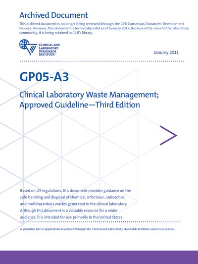Clinical Laboratory Waste Management, 3rd Edition
