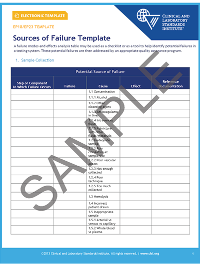 EP18A2EP23AWS Laboratory Quality Control Based on Risk Management; Worksheet Template